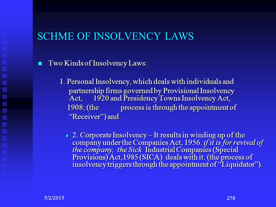 SCHME OF INSOLVENCY LAWS