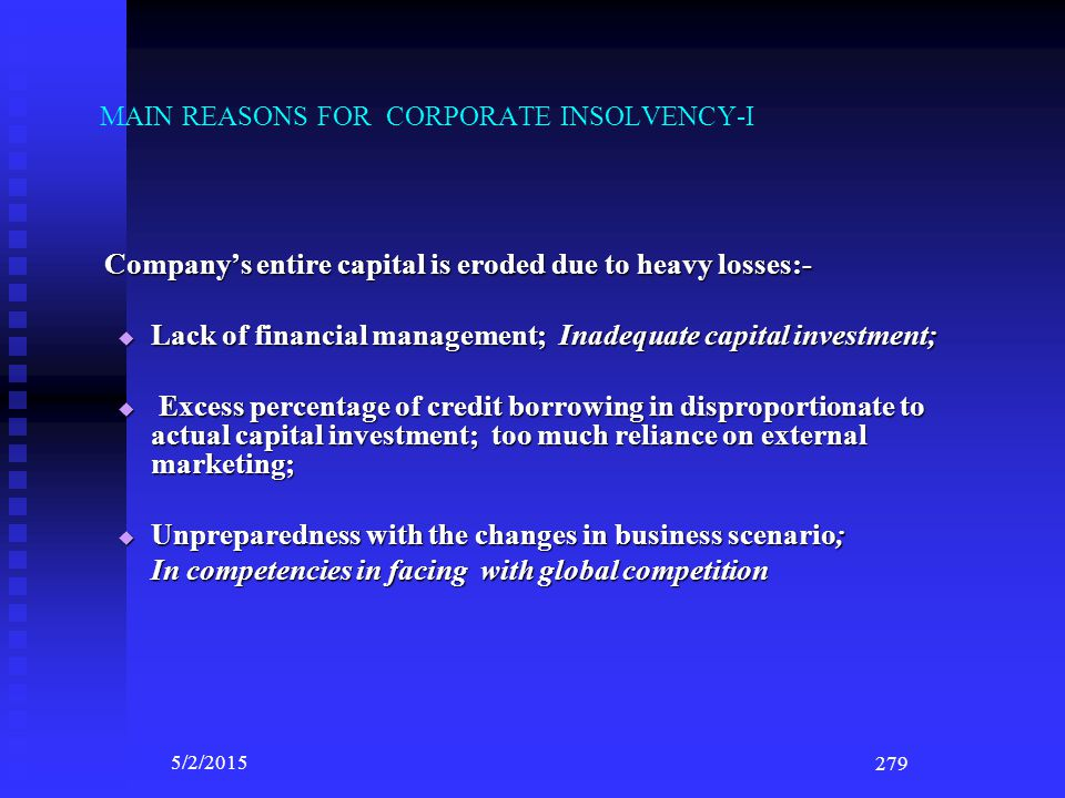 MAIN REASONS FOR CORPORATE INSOLVENCY-I