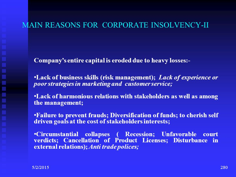 MAIN REASONS FOR CORPORATE INSOLVENCY-II