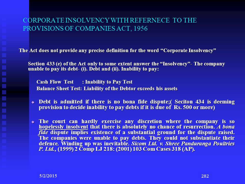 CORPORATE INSOLVENCY WITH REFERNECE TO THE PROVISIONS OF COMPANIES ACT, 1956