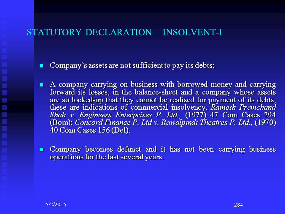 STATUTORY DECLARATION – INSOLVENT-I
