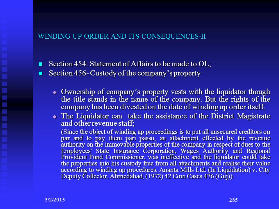WINDING UP ORDER AND ITS CONSEQUENCES-II