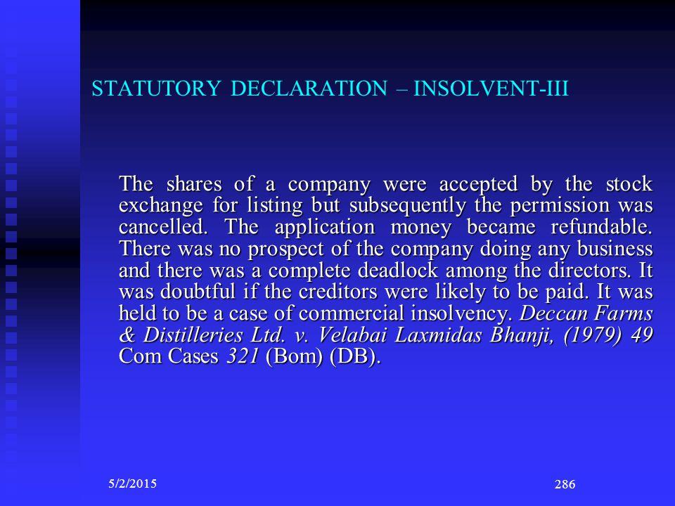 STATUTORY DECLARATION – INSOLVENT-III