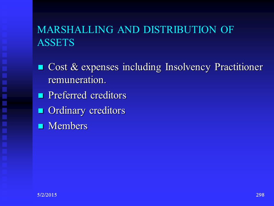 MARSHALLING AND DISTRIBUTION OF ASSETS
