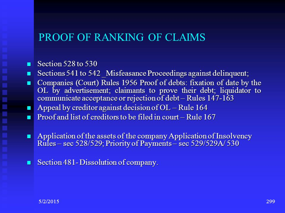 PROOF OF RANKING OF CLAIMS