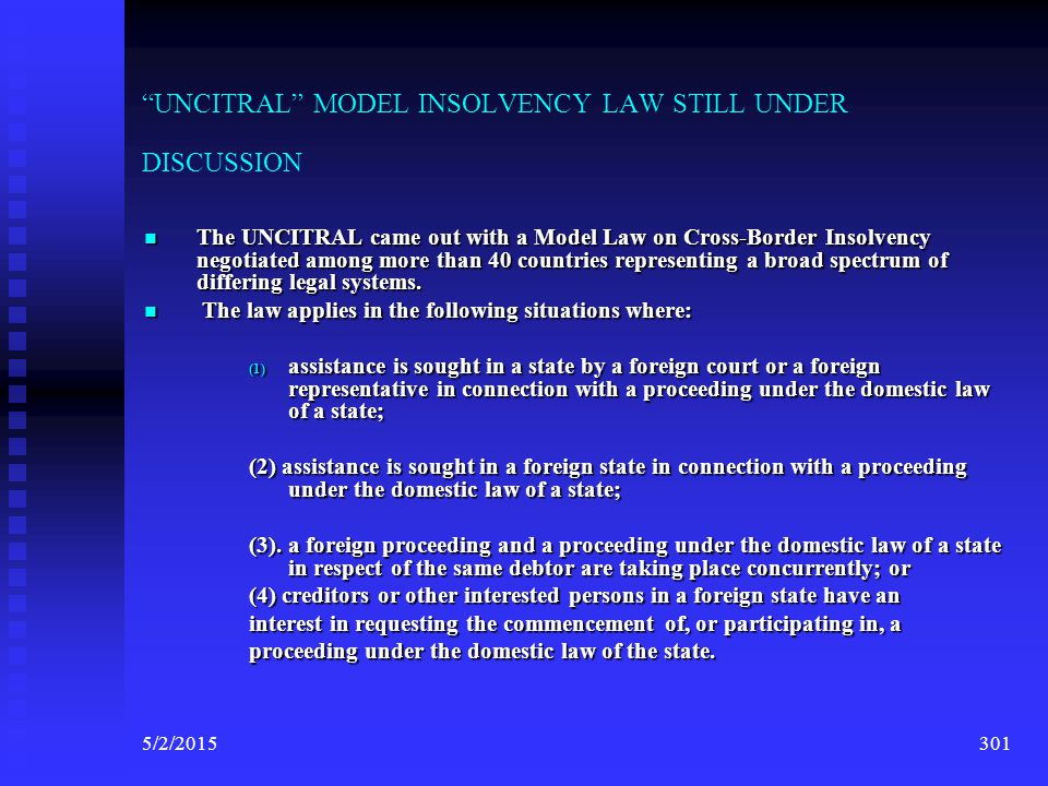 UNCITRAL MODEL INSOLVENCY LAW STILL UNDER DISCUSSION