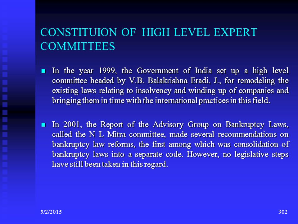 CONSTITUION OF HIGH LEVEL EXPERT COMMITTEES