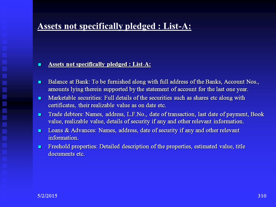 Assets not specifically pledged : List-A: