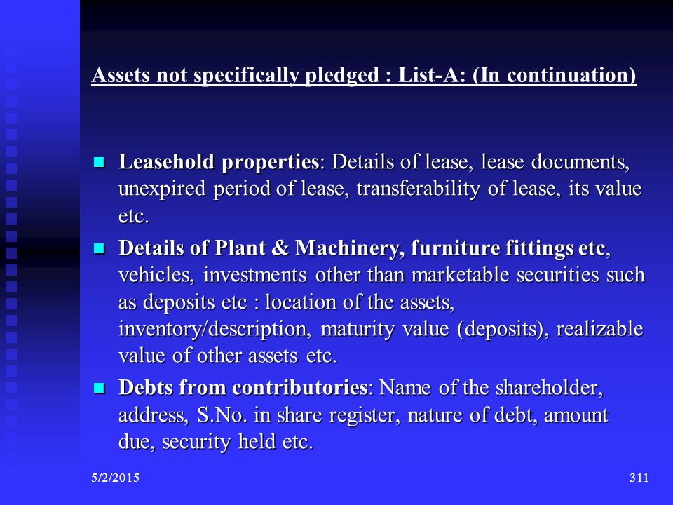 Assets not specifically pledged : List-A: (In continuation)
