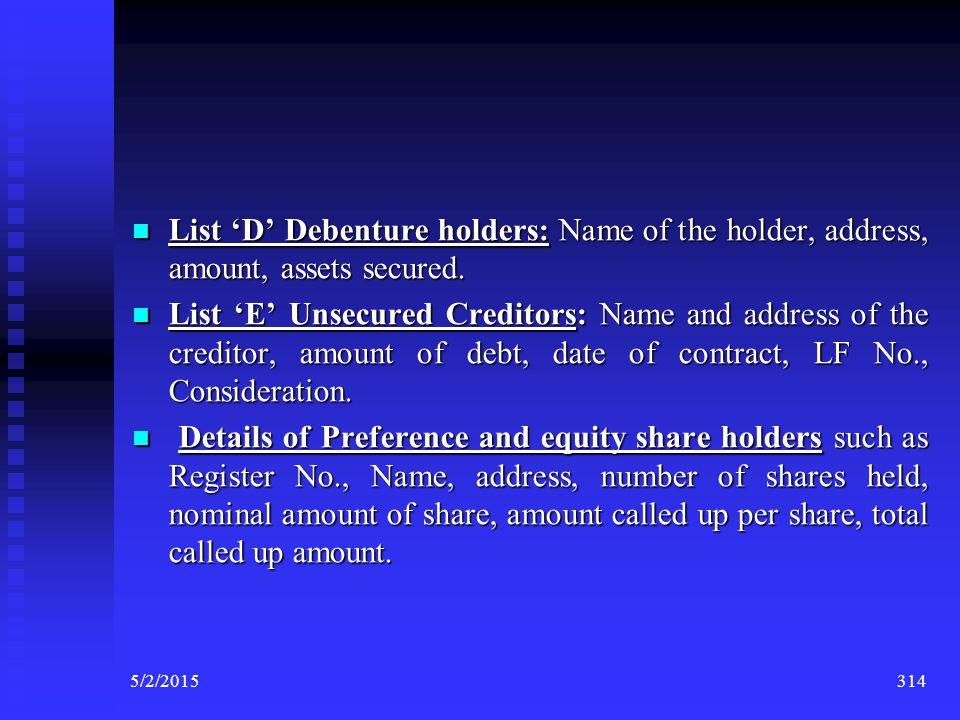 List 'D' Debenture holders: Name of the holder, address, amount, assets secured.