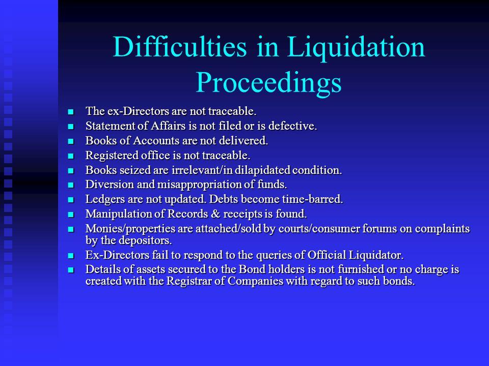 Difficulties in Liquidation Proceedings