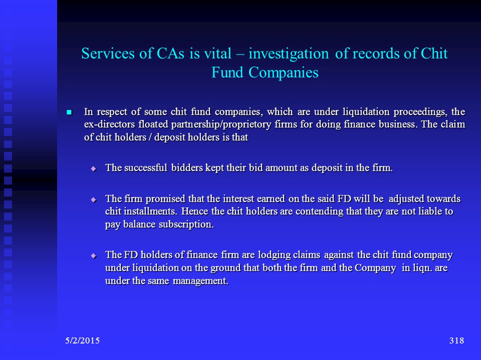 Services of CAs is vital – investigation of records of Chit Fund Companies