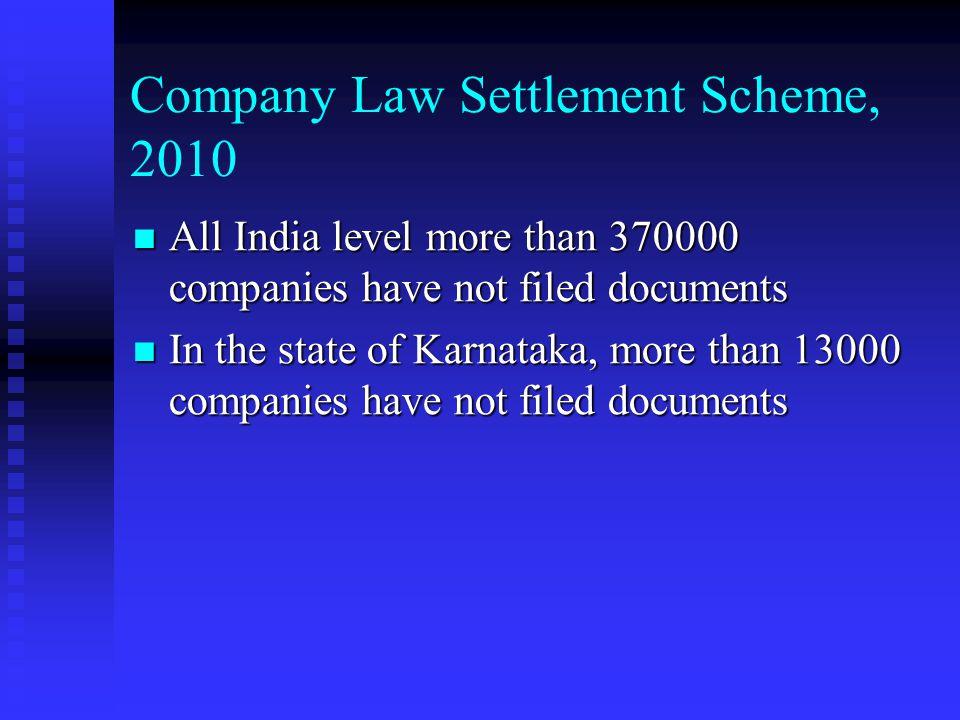 Company Law Settlement Scheme, 2010