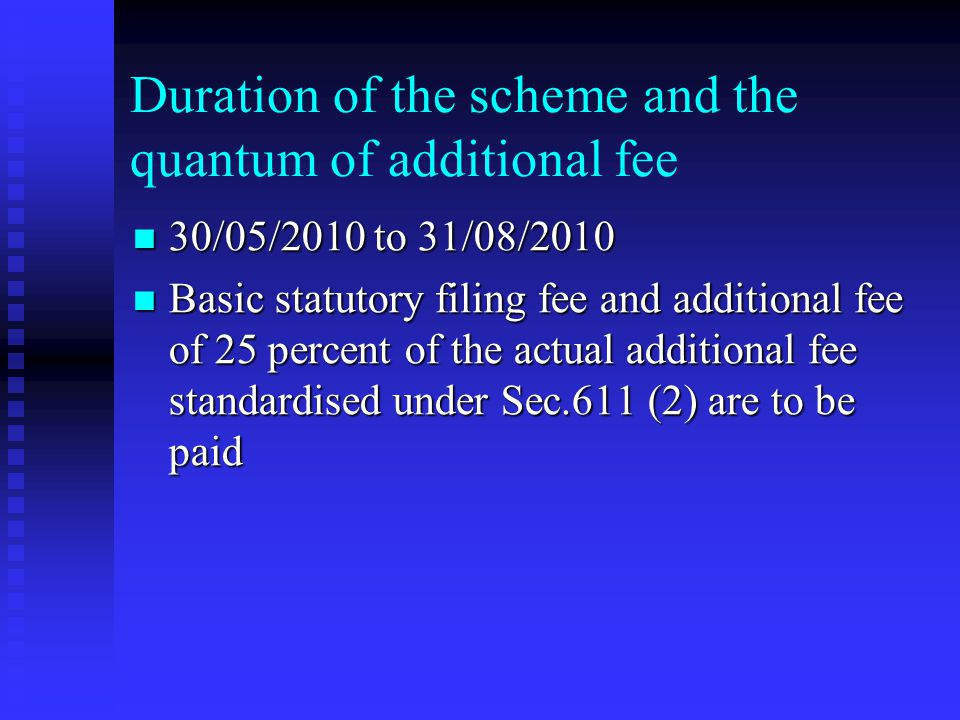 Duration of the scheme and the quantum of additional fee