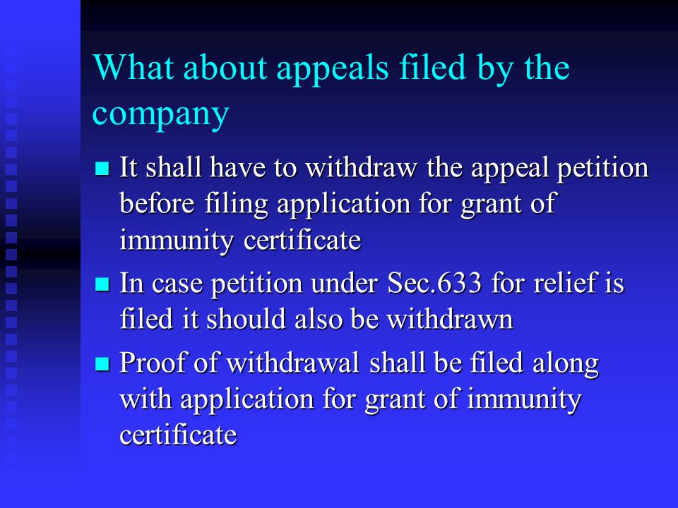What about appeals filed by the company