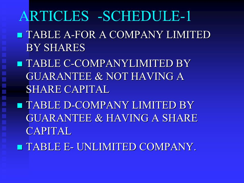 ARTICLES -SCHEDULE-1 TABLE A-FOR A COMPANY LIMITED BY SHARES