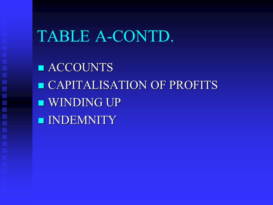 TABLE A-CONTD. ACCOUNTS CAPITALISATION OF PROFITS WINDING UP INDEMNITY