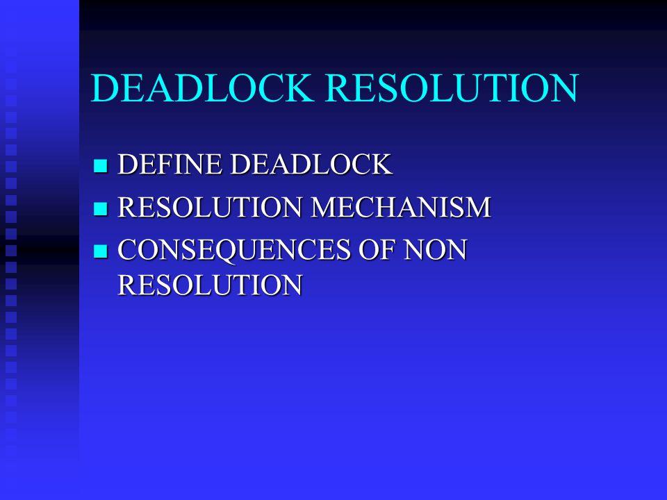 DEADLOCK RESOLUTION DEFINE DEADLOCK RESOLUTION MECHANISM