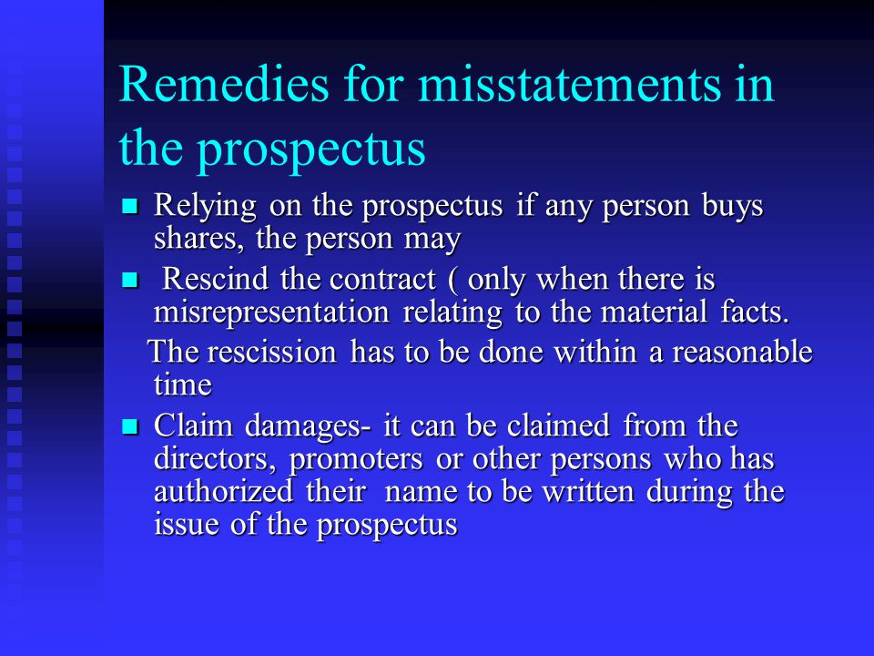 Remedies for misstatements in the prospectus