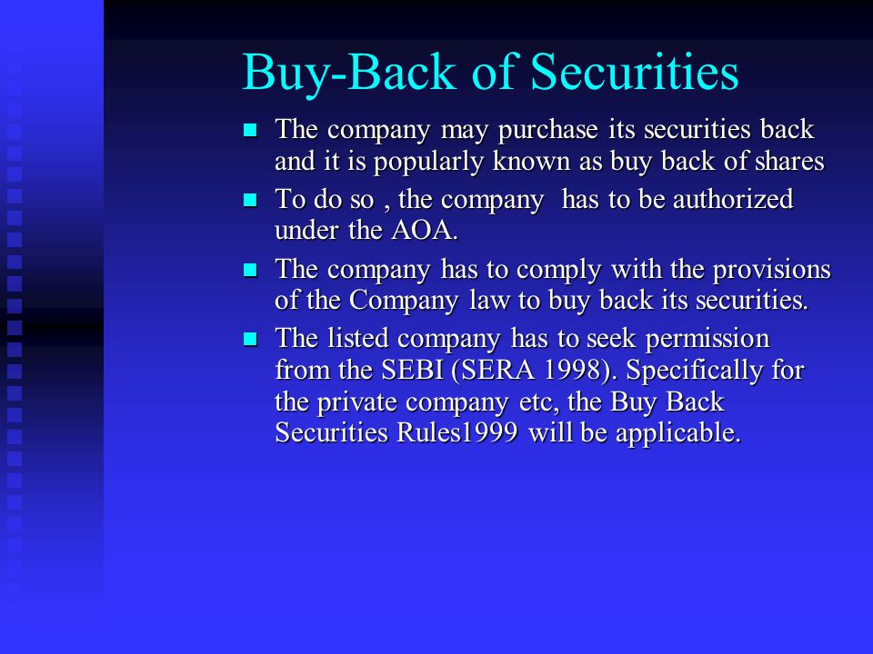 Buy-Back of Securities