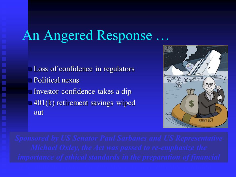 An Angered Response … Loss of confidence in regulators Political nexus