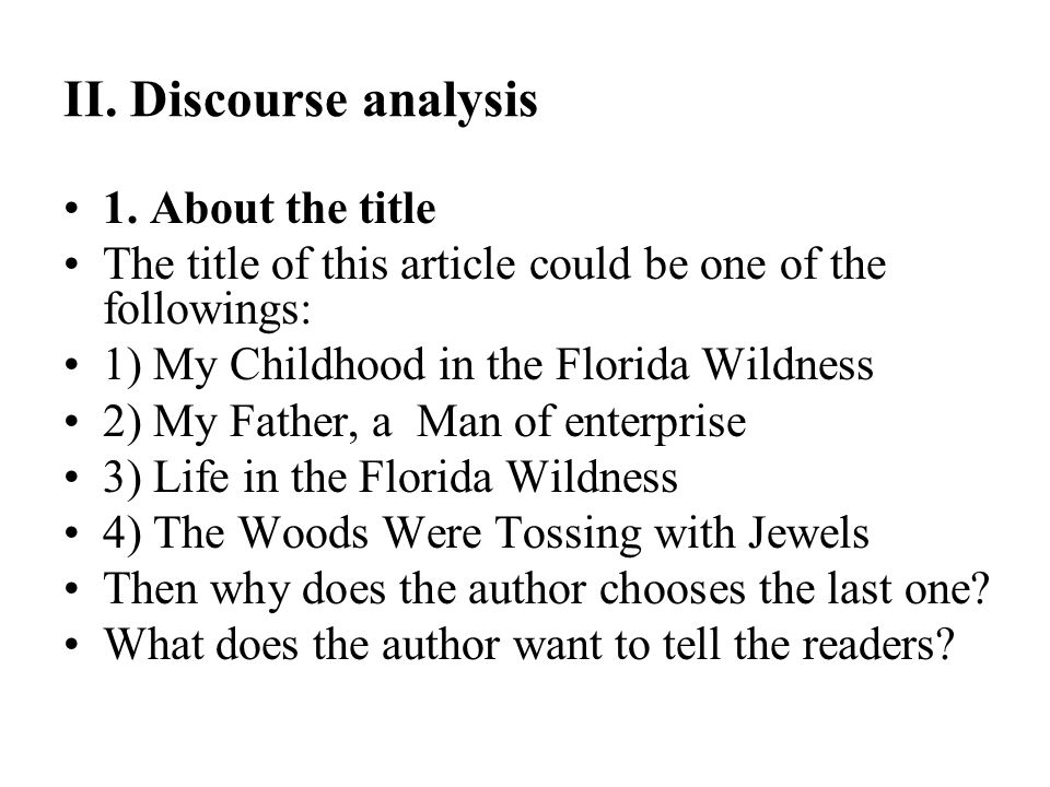 II. Discourse analysis 1. About the title
