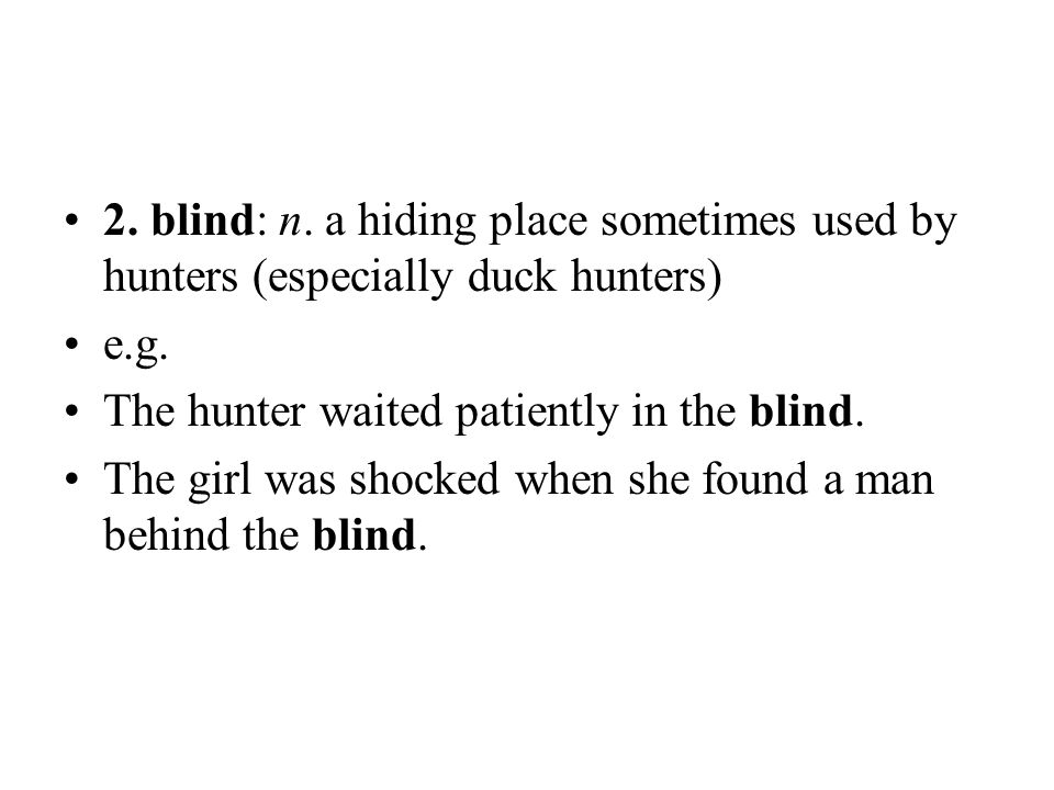 2. blind: n. a hiding place sometimes used by hunters (especially duck hunters)