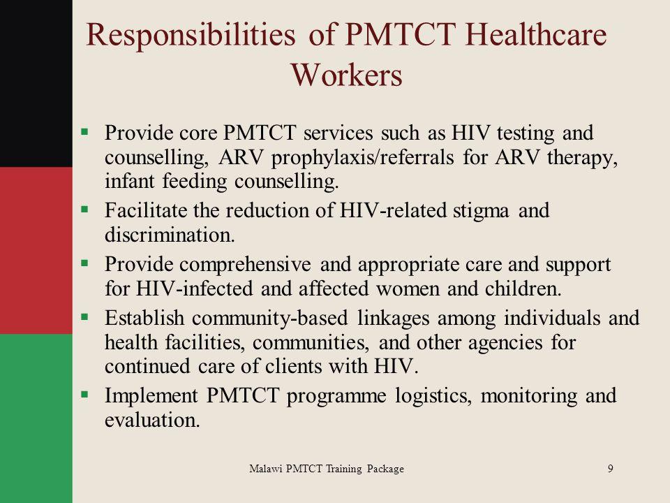 Responsibilities of PMTCT Healthcare Workers