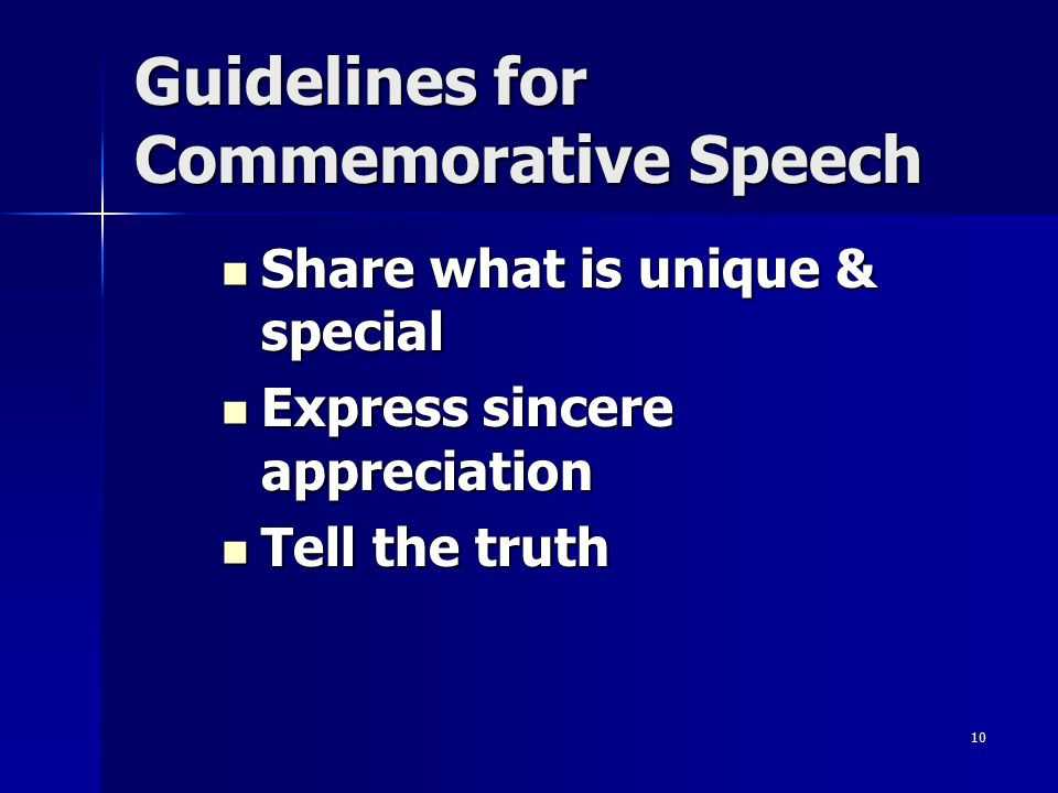 Guidelines for Commemorative Speech