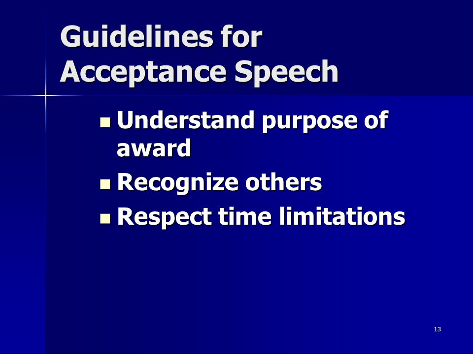 Guidelines for Acceptance Speech