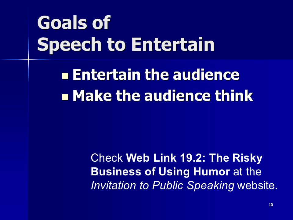 Goals of Speech to Entertain