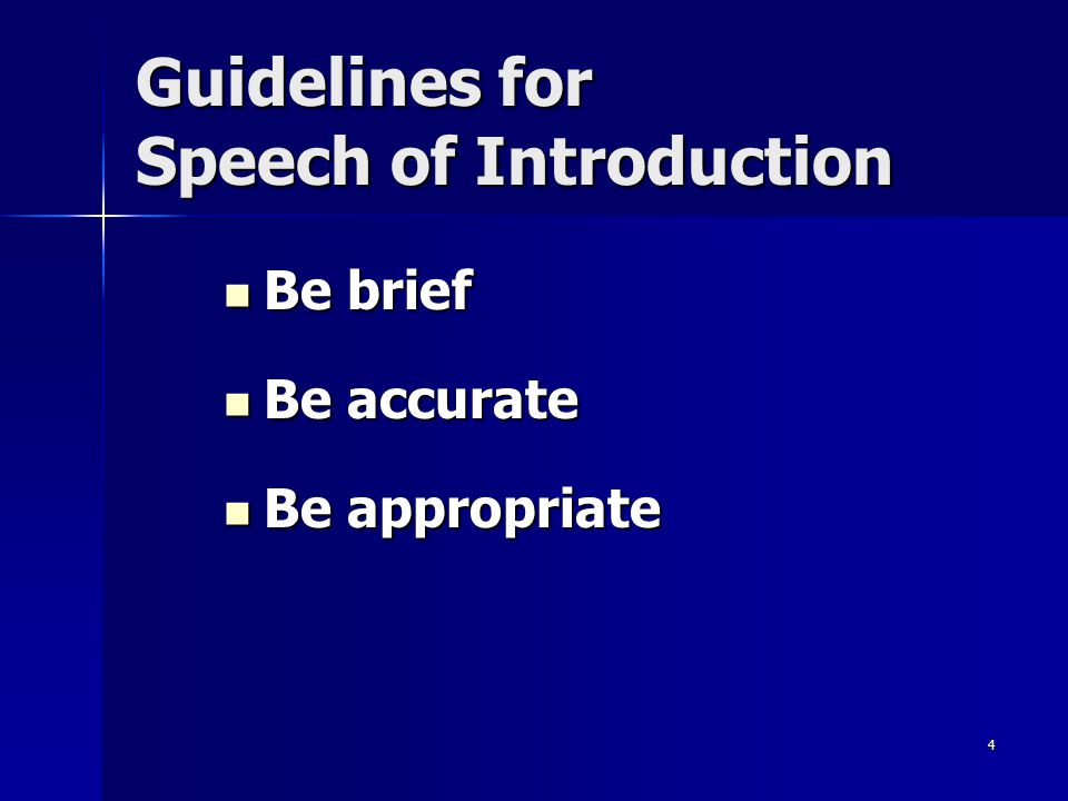 Guidelines for Speech of Introduction