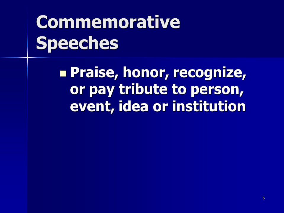 Commemorative Speeches