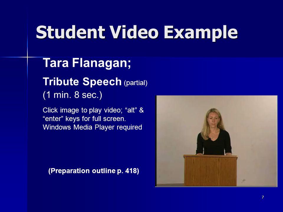 Student Video Example Tara Flanagan; Tribute Speech (partial)