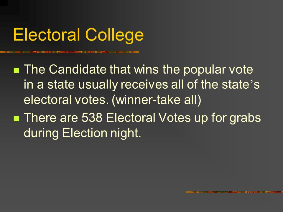 Electoral College The Candidate that wins the popular vote in a state usually receives all of the state's electoral votes. (winner-take all)