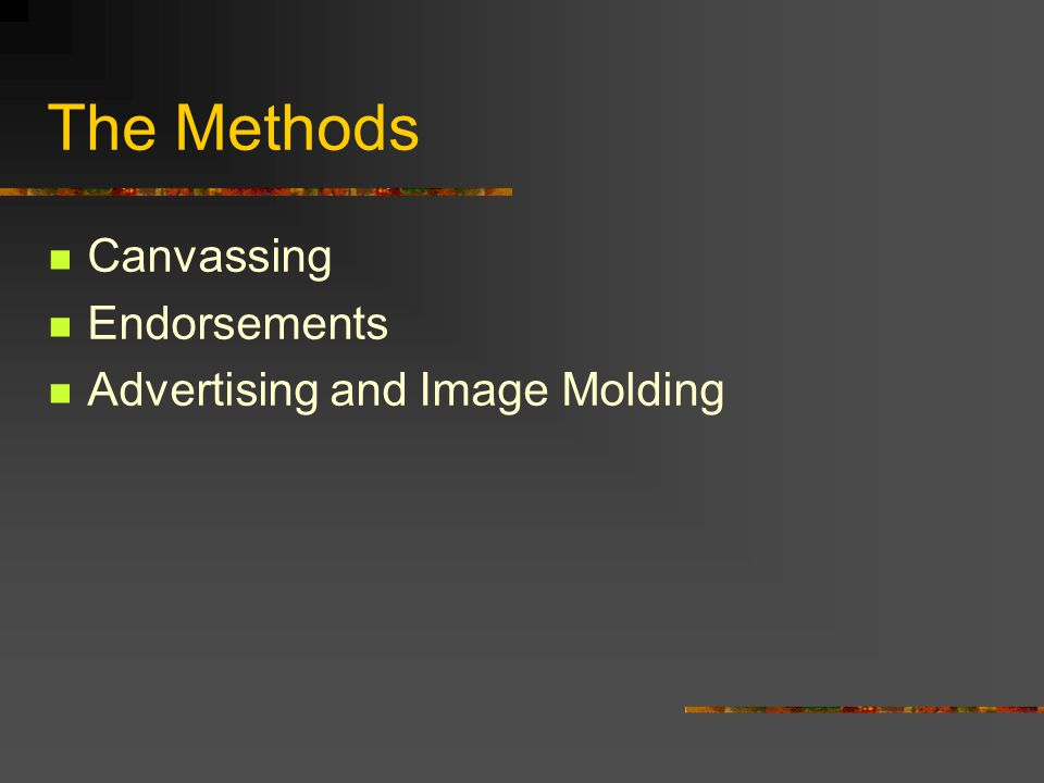 The Methods Canvassing Endorsements Advertising and Image Molding