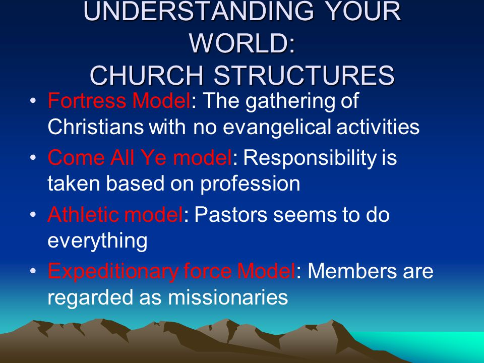 UNDERSTANDING YOUR WORLD: CHURCH STRUCTURES