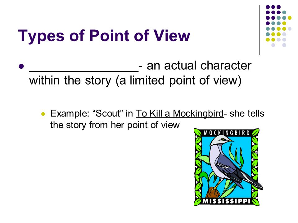 Types of Point of View ________________- an actual character within the story (a limited point of view)