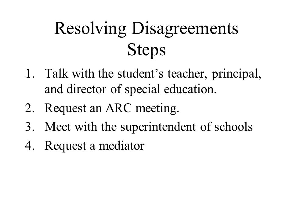 Resolving Disagreements Steps