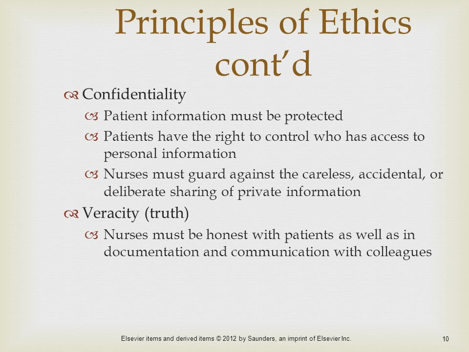 Principles of Ethics cont'd