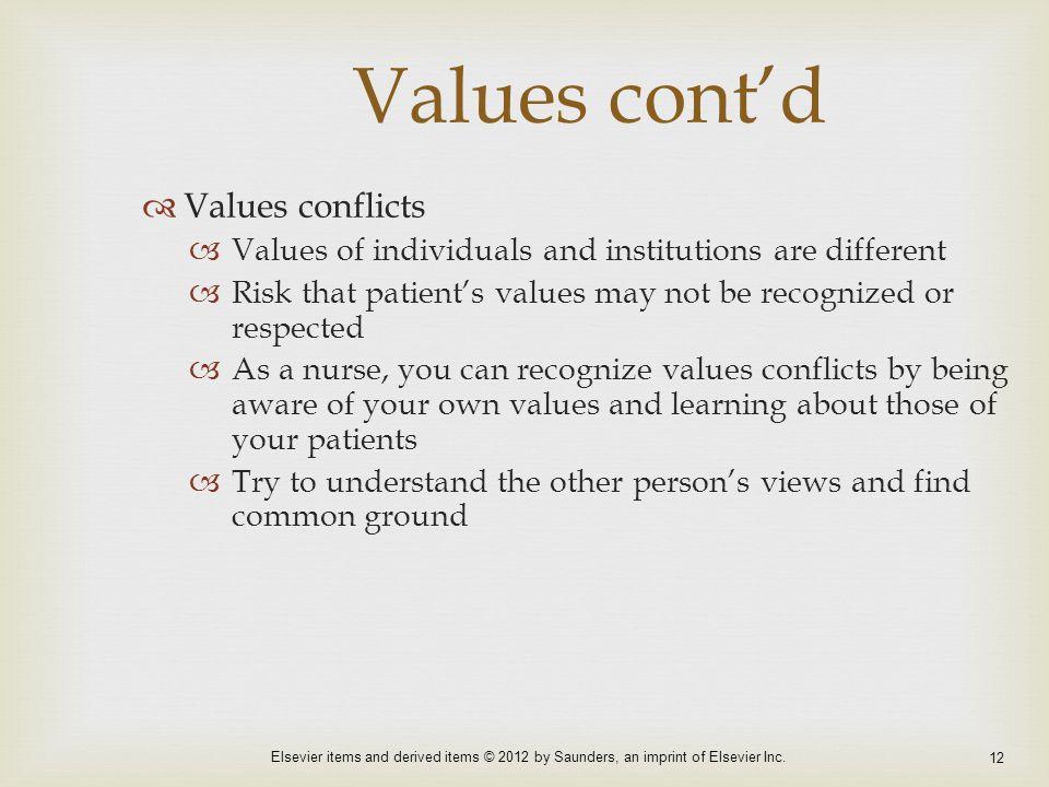 Values cont'd Values conflicts