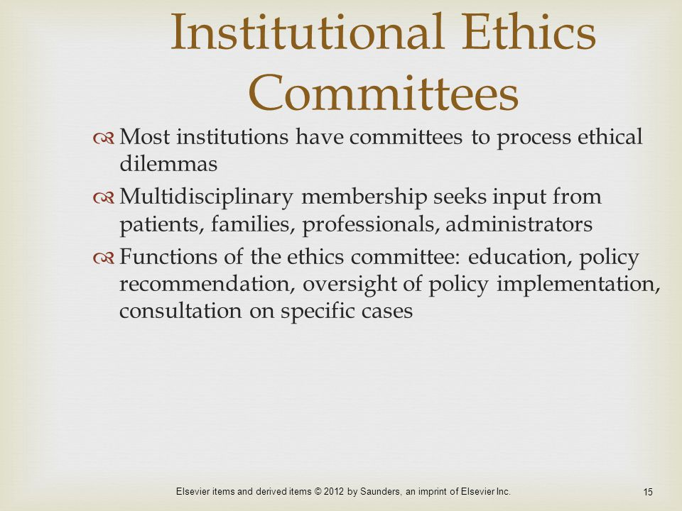 Institutional Ethics Committees