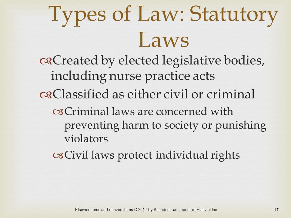 Types of Law: Statutory Laws