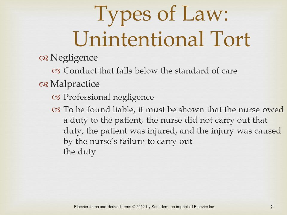 Types of Law: Unintentional Tort
