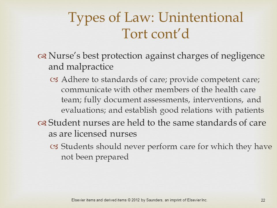 Types of Law: Unintentional Tort cont'd