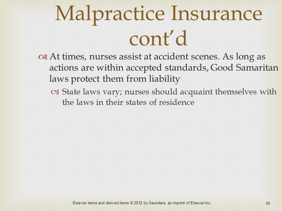 Malpractice Insurance cont'd