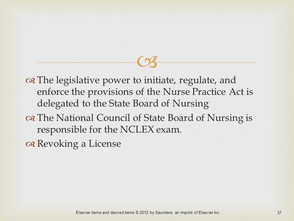 an analysis of the nurse practice act The nurse practice act is state laws that make sure nurses provide professional and competent care and establishes the state board of nursing (bon).