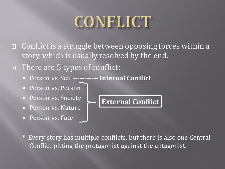 CONFLICT Conflict is a struggle between opposing forces within a story, which is usually resolved by the end.