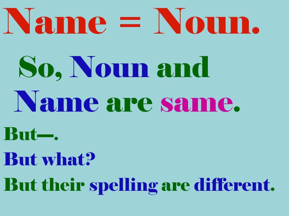 Name = Noun. So, Noun and Name are same. But----. But what