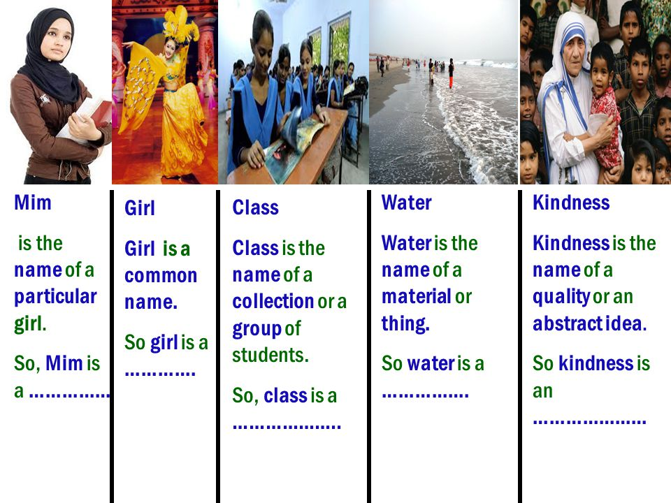 Mim is the name of a particular girl. So, Mim is a …………… Water. Water is the name of a material or thing.
